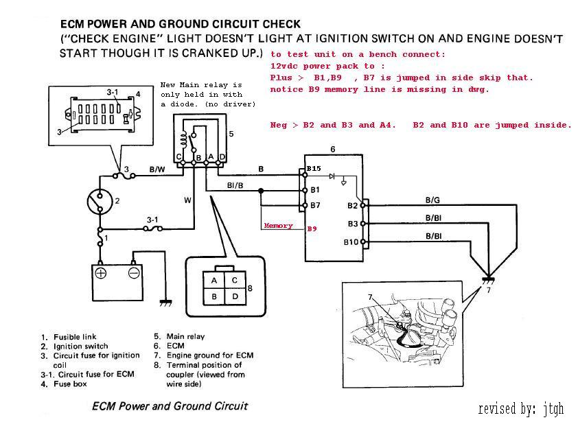ECM power and ground circuit check